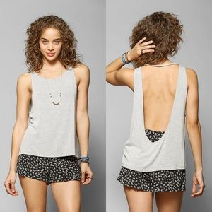 Urban Outfitters Gray Slouchy Drape Back Tank Top